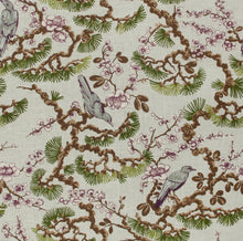 Load image into Gallery viewer, Floral Bird Print Drapery Fabric / Amethyst