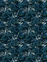 Load image into Gallery viewer, Floral Bird Print Drapery Fabric / Navy
