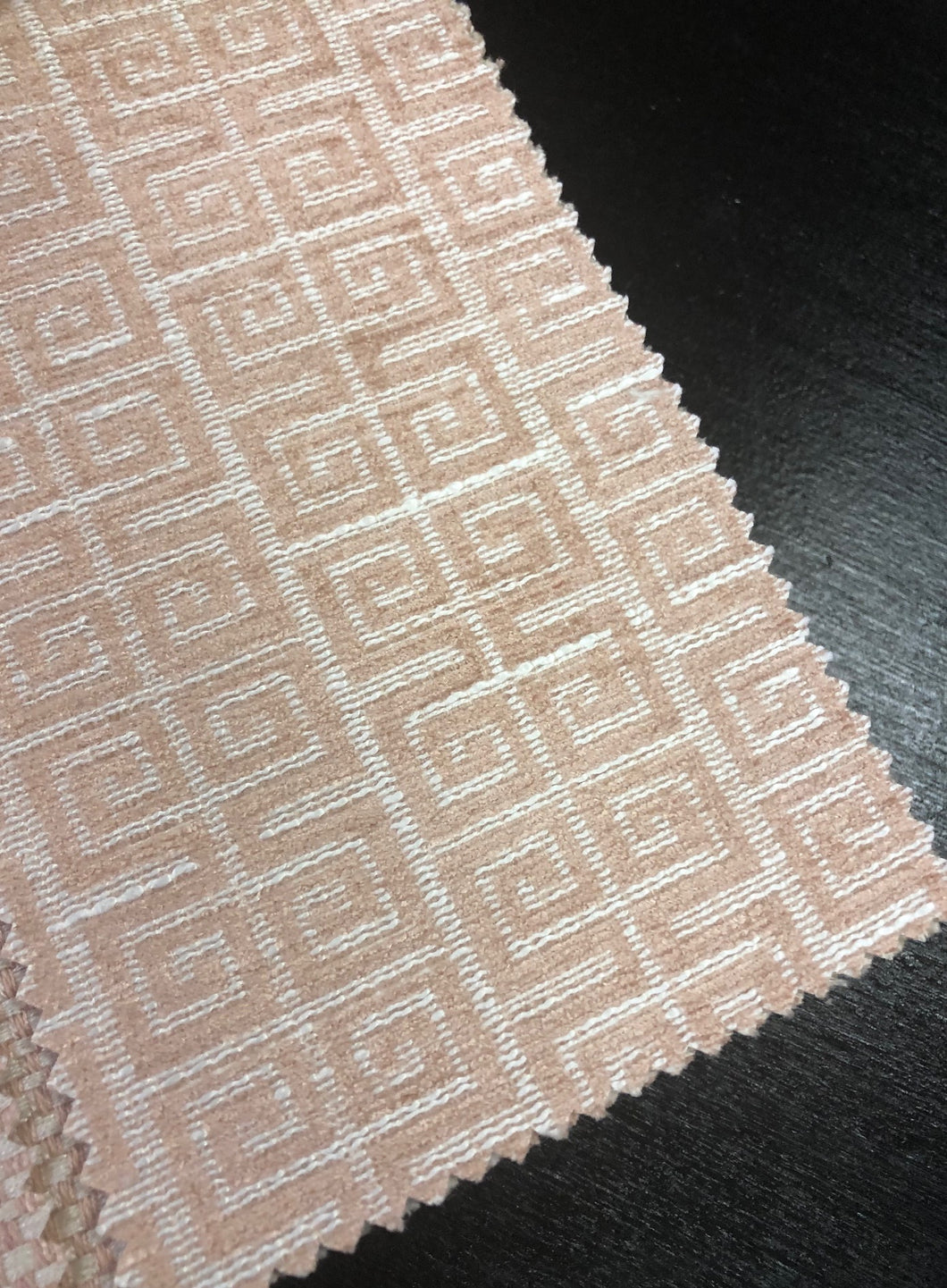 Greek Key Geometric Chenille Upholstery Fabric Blush Off White