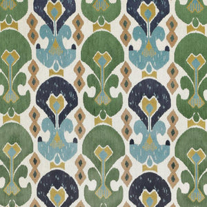 Kasbah Green Blue Upholstery Ikat Chenille Fabric / Lagoon