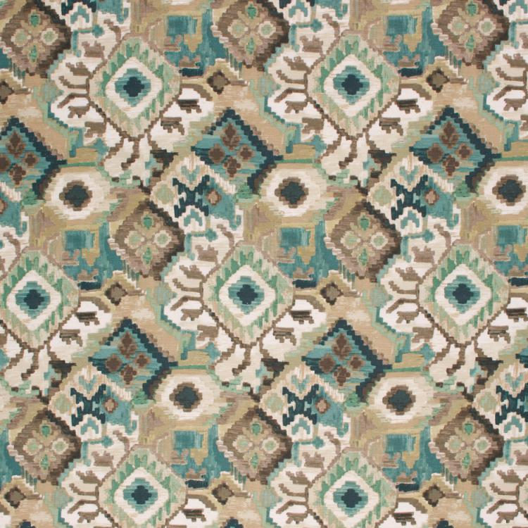 Cotton Upholstery Drapery Ikat Fabric Gray Aqua Teal / Aquarius