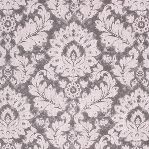 Cotton Duck Damask Upholstery Drapery Fabric Cream Gray / Ash RMIL1