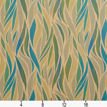 Load image into Gallery viewer, Essentials Outdoor Upholstery Drapery Abstract Fabric / Blue Green Tan