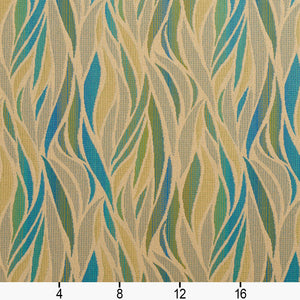 Essentials Outdoor Upholstery Drapery Abstract Fabric / Blue Green Tan