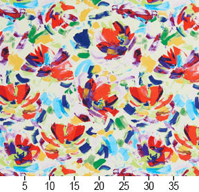 Essentials Drapery Upholstery Abstract Fabric / Red Blue Yellow Green White