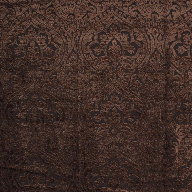 Amalfi Chenille Damask Brown Upholstery Fabric / Black Walnut