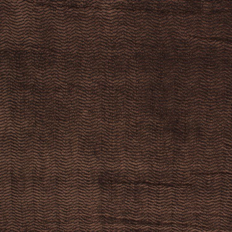 Amalfi Stripe Wave Brown Chenille Upholstery Fabric / Black Walnut