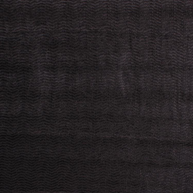 Amalfi Stripe Wave Black Chenille Upholstery Fabric / Shadow