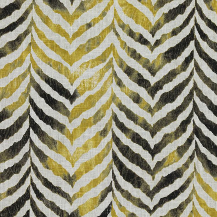 Animal Print Tiger Black Gray Yellow White Cotton Linen Drapery Fabric / Pyrite