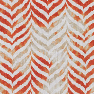 Animal Print Tiger Red Orange White Beige Cotton Linen Drapery Fabric / Mandarin