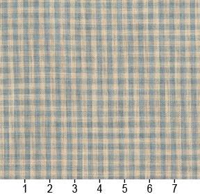 Essentials Aqua Beige Checkered Upholstery Drapery Fabric / Cornflower Gingham