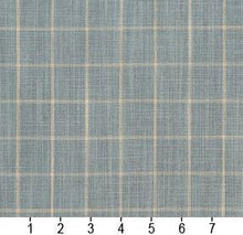 Load image into Gallery viewer, Essentials Aqua Beige Plaid Upholstery Drapery Fabric / Cornflower Checkerboard