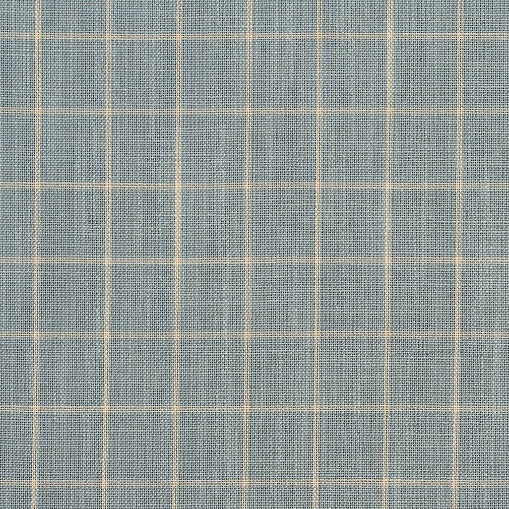 Essentials Aqua Beige Plaid Upholstery Drapery Fabric / Cornflower Checkerboard