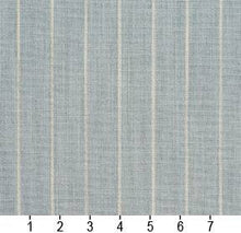 Load image into Gallery viewer, Essentials Aqua Beige Stripe Upholstery Drapery Fabric / Cornflower Pinstripe