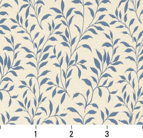 Essentials Aqua Blue Green White Botanical Leaf Floral Upholstery Fabric