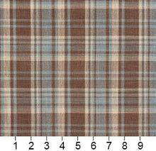 Load image into Gallery viewer, Essentials Aqua Brown Beige Checkered Upholstery Drapery Fabric / Cornflower Plaid