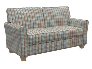Essentials Aqua Brown Beige Checkered Upholstery Drapery Fabric / Cornflower Plaid