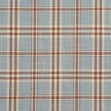 Load image into Gallery viewer, Essentials Aqua Brown Cream Checkered Plaid Upholstery Drapery Fabric / Cornflower Tartan