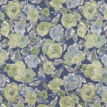 Load image into Gallery viewer, Essentials Aqua Green Navy Blue Botanical Leaf Upholstery Fabric