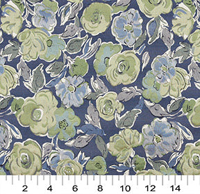 Essentials Aqua Green Navy Blue Botanical Leaf Upholstery Fabric