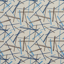 Load image into Gallery viewer, Essentials Aqua Navy Blue Cream Brown Abstract Upholstery Fabric