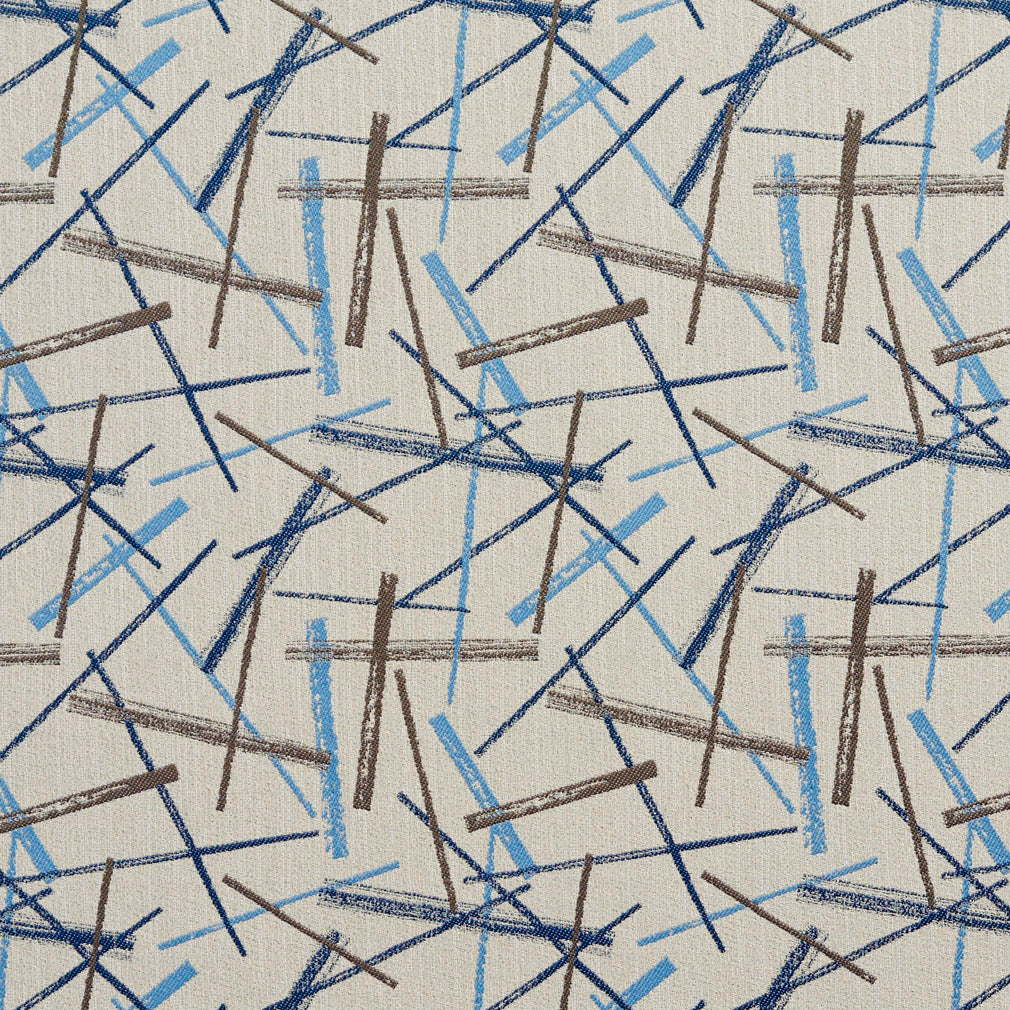 Essentials Aqua Navy Blue Cream Brown Abstract Upholstery Fabric