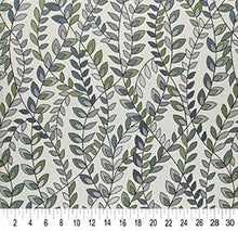 Load image into Gallery viewer, Essentials Aqua Teal Green White Botanical Leaf Upholstery Fabric