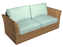 Load image into Gallery viewer, Essentials Outdoor Stain Resistant Upholstery Drapery Fabric Aqua Yellow / Lagoon Stripe