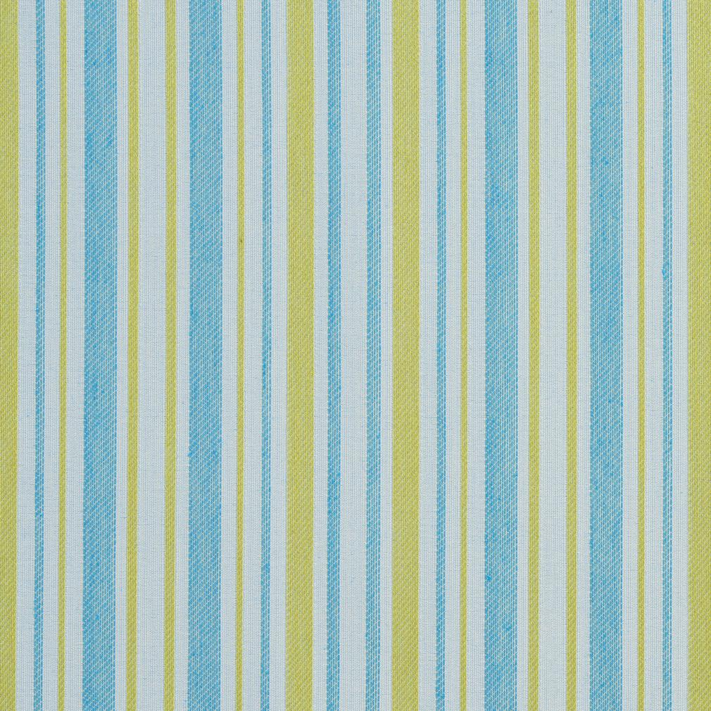 Essentials Outdoor Stain Resistant Upholstery Drapery Fabric Aqua Yellow / Lagoon Stripe