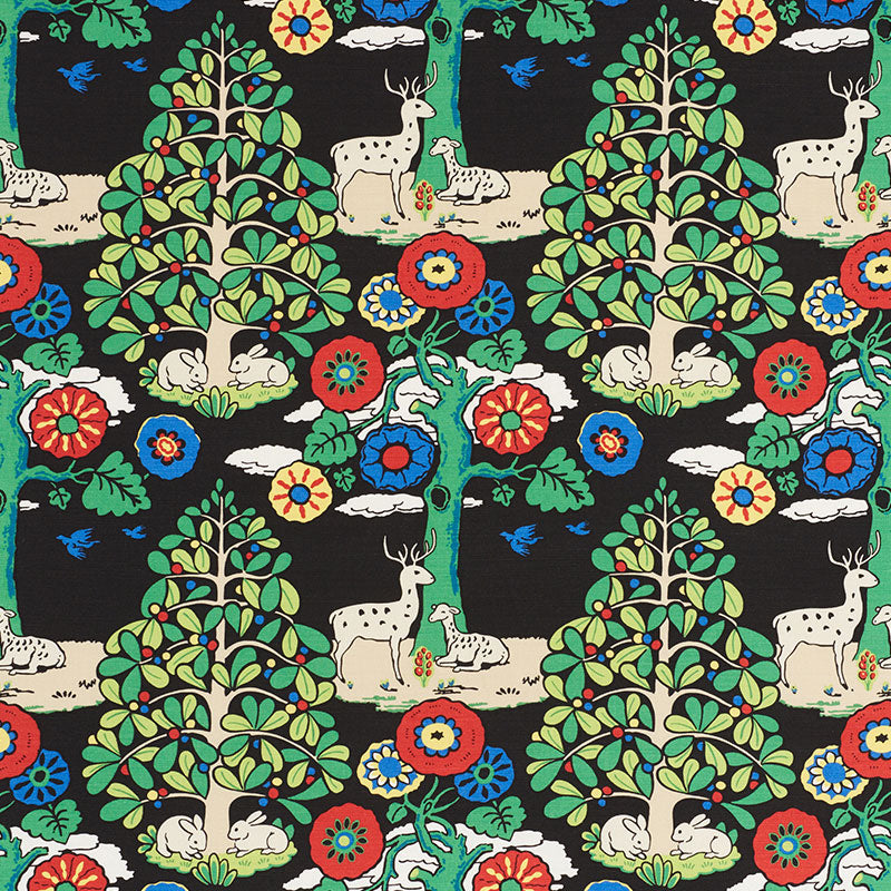 SCHUMACHER FANTASY FOREST FABRIC / BLACK & MULTI
