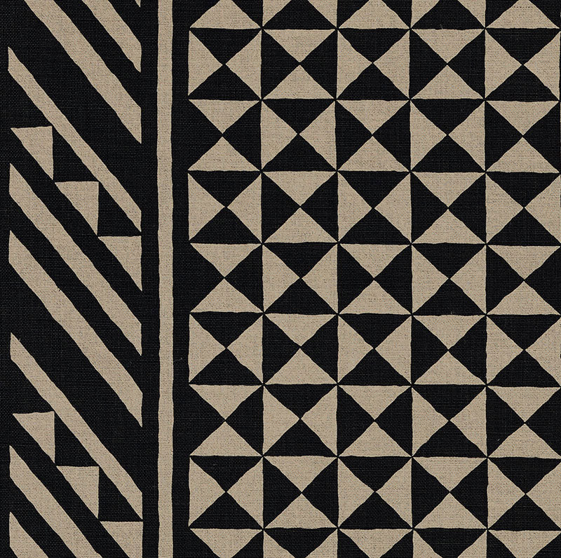 SCHUMACHER NUBA FABRIC / BLACK ON NATURAL
