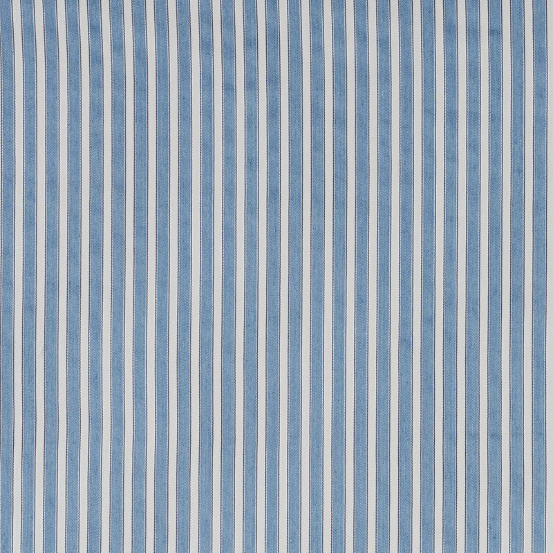 SCHUMACHER ANTIQUE TICKING STRIPE FABRIC / BLEU