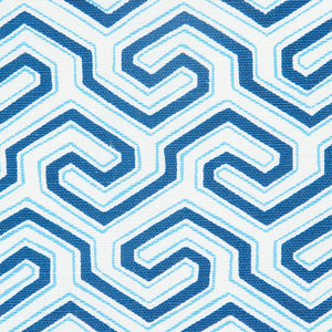 SCHUMACHER MING FRET PRINT FABRIC / BLUE