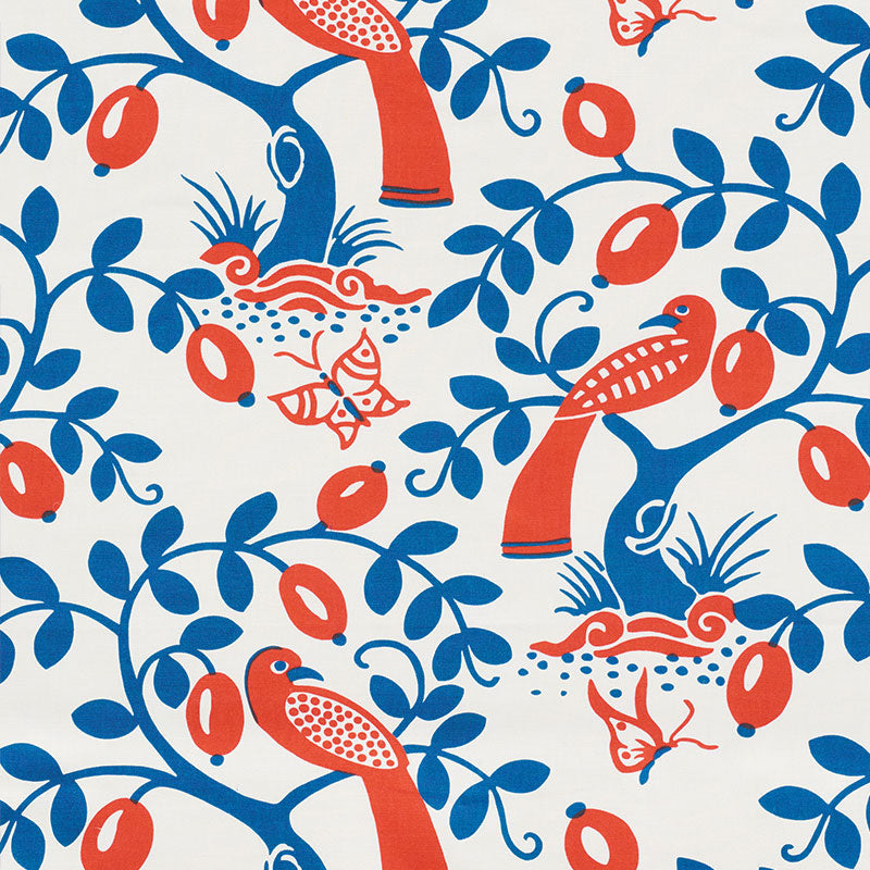SCHUMACHER OLIVE TREE FABRIC / BLUE & RED