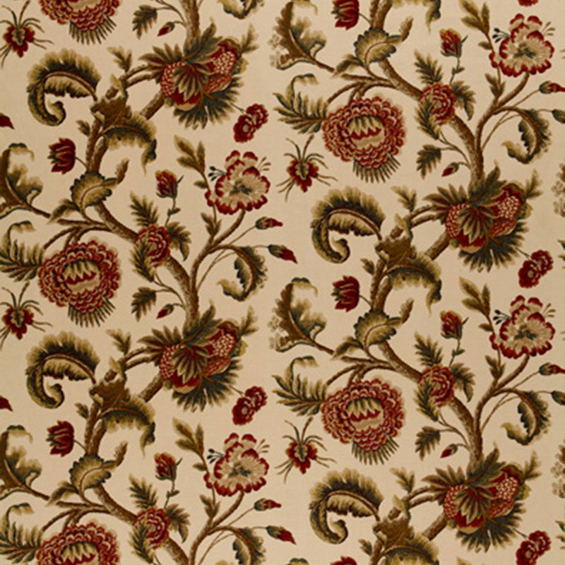 SCHUMACHER JACOBEAN PRINTED CREWEL FABRIC / BURNISH SAGE