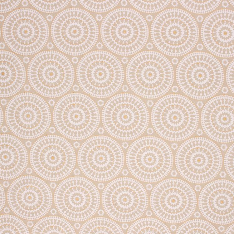 Embroidered Cotton Medallion Drapery Fabric Beige Cream / Butter RMIL1