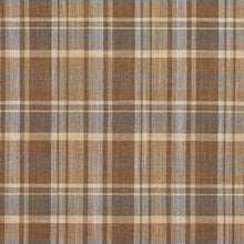 Load image into Gallery viewer, Essentials Beige Brown Aqua Checkered Upholstery Drapery Fabric / Wheat Plaid