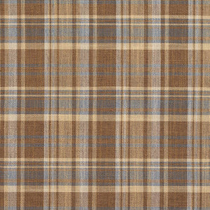 Essentials Beige Brown Aqua Checkered Upholstery Drapery Fabric / Wheat Plaid