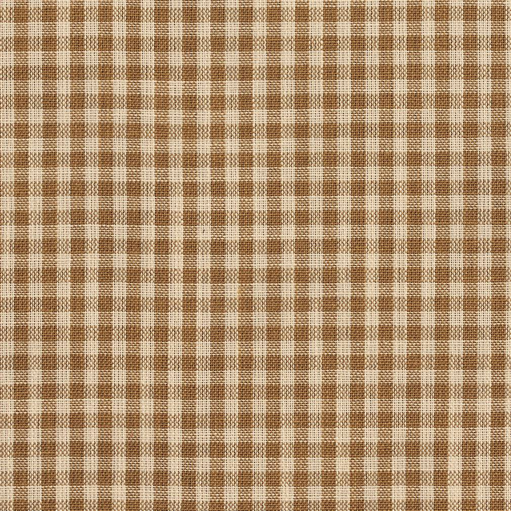 Essentials Beige Brown Checkered Upholstery Drapery Fabric / Wheat Gingham