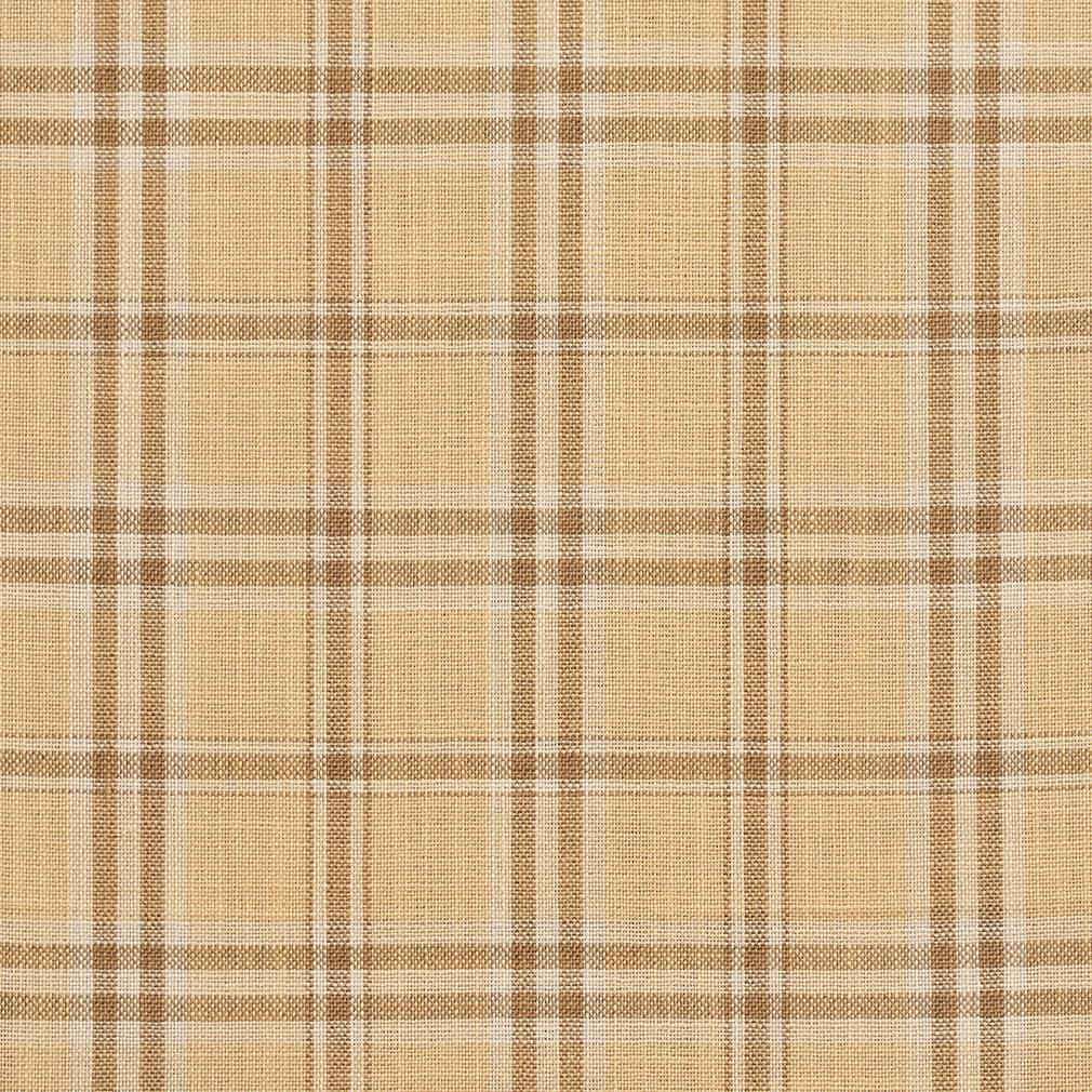 Essentials Beige Brown Cream Checkered Plaid Upholstery Drapery Fabric / Wheat Tartan