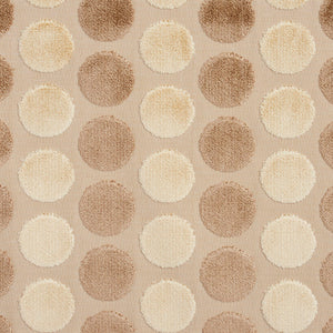 Essentials Cut Velvet Beige Cream Ivory Geometric Сircle Upholstery Drapery Fabric