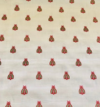 Load image into Gallery viewer, Vernon Beige Red Green Napoleonic Bee Pattern Damask Jacquard Brocade Fabric Upholstery Home Decor French Country