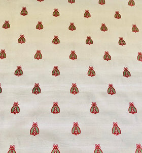 Vernon Beige Red Green Napoleonic Bee Pattern Damask Jacquard Brocade Fabric Upholstery Home Decor French Country