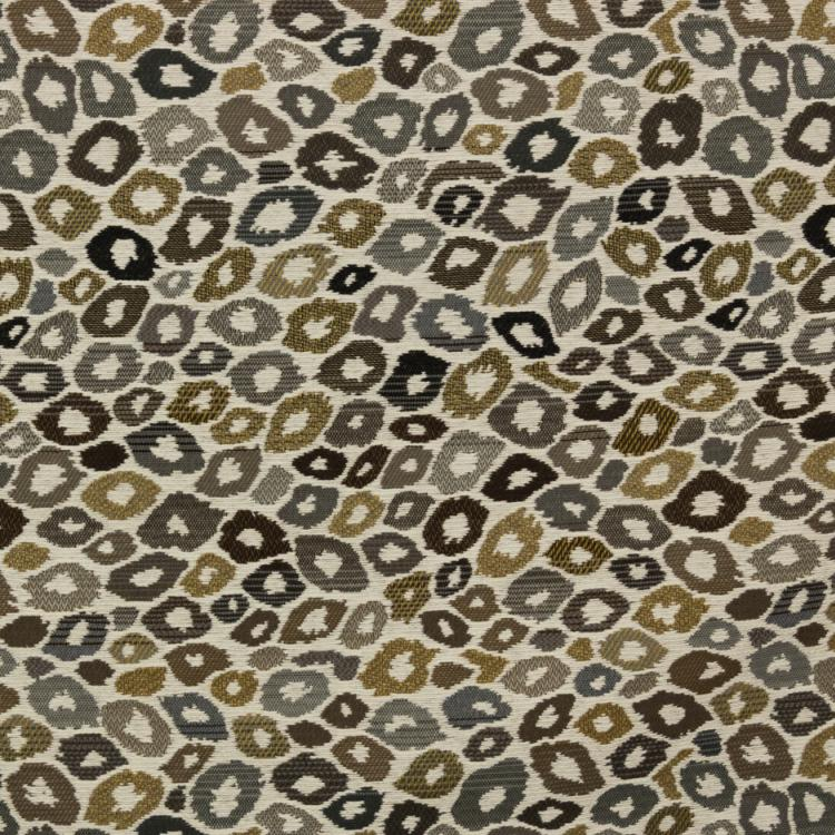 Furocious Fabric Animal Pattern Beige Brown Gray Black Leopard Jaguar Upholstery Fabric / Kona