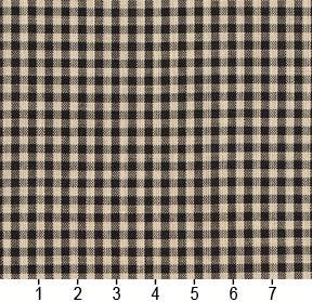 Essentials Black Beige Checkered Upholstery Drapery Fabric / Onyx Gingham