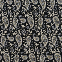 Load image into Gallery viewer, Essentials Black Beige Gray White Upholstery Fabric / Onyx Paisley