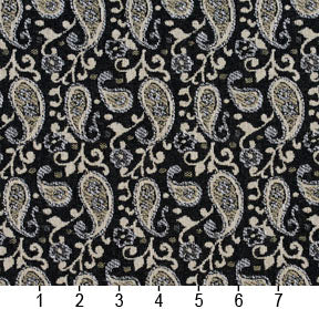Essentials Black Beige Gray White Upholstery Fabric / Onyx Paisley