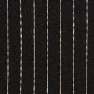 Essentials Black White Stripe Upholstery Drapery Fabric / Onyx Pinstripe