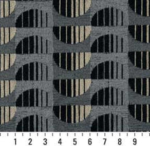 Load image into Gallery viewer, Essentials Chenille Black Blue Gray Abstract Geometric Art Deco Upholstery Fabric / Marble