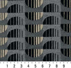 Essentials Chenille Black Blue Gray Abstract Geometric Art Deco Upholstery Fabric / Marble